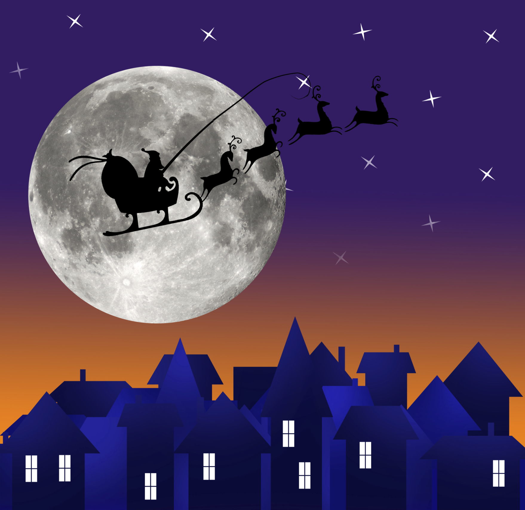 Santas Sleigh Flies At Night