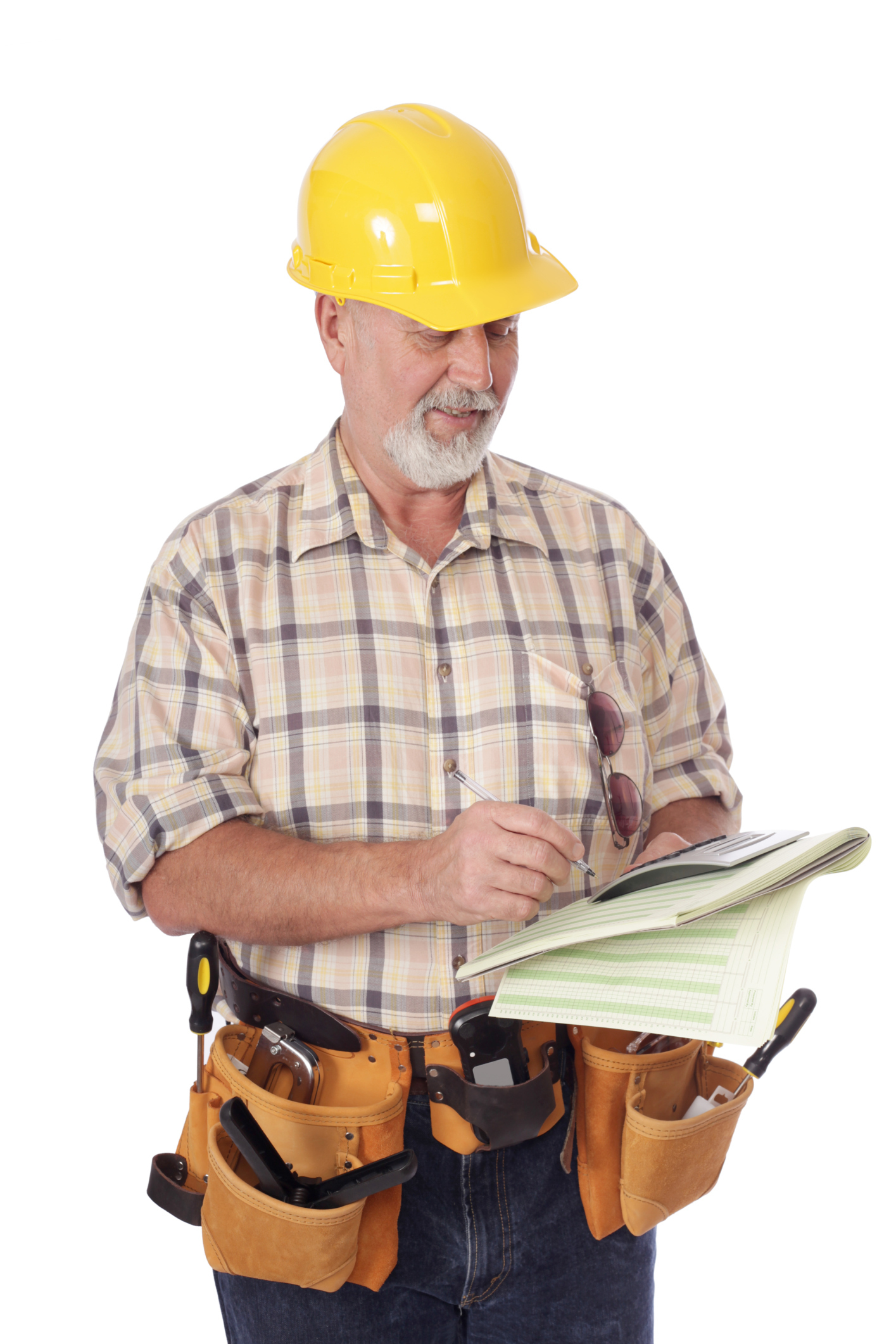 Man In Hard Hat With Paperwork