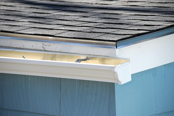 White gutters on a house.